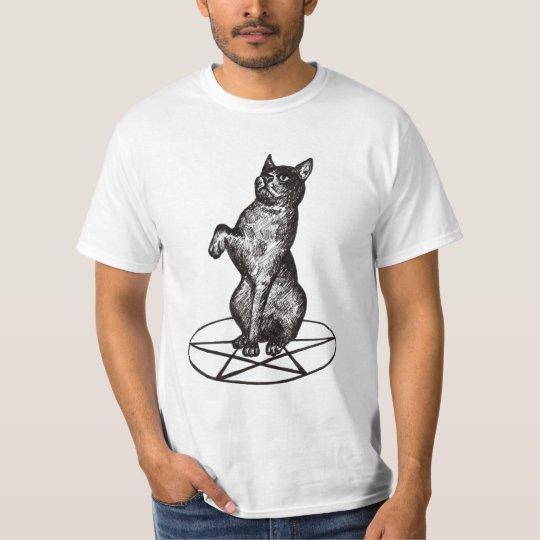 cat with pentagram T shirt