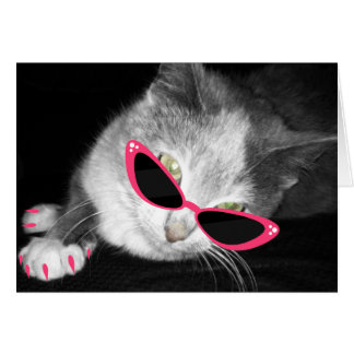 Cat With Pink Sunglasses & Claws Notecard Stationery Note Card