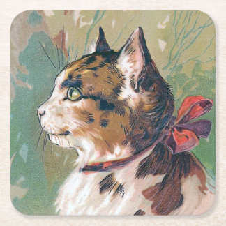 Cat with Red Ribbon Vintage Illustration Square Paper Coaster