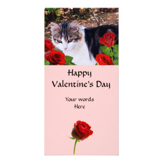 CAT WITH RED ROSES PHOTO CARD TEMPLATE