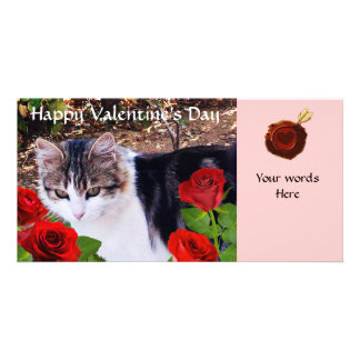 CAT WITH RED ROSES PHOTO GREETING CARD