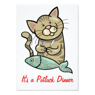 """Cat with Seafood Dinner Potluck 5"""" X 7"""" Invitation Card"""