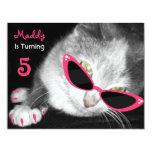 "Cat With Sunglasses Birthday Party Invite 4.25"" X 5.5"" Invitation Card"