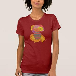 Cat with Vase of Gerbera Daisies Folk Art T-Shirt