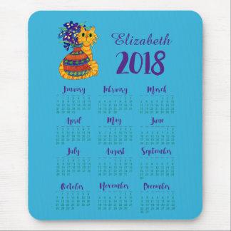 Cat with Vase of Irises 2018 Calendar Custom Name Mouse Pad