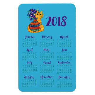 Cat with Vase of Irises 2018 Calendar Fridge Magnet