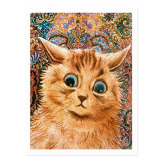 Cat with Wallpaper Background Louis Wain Postcard