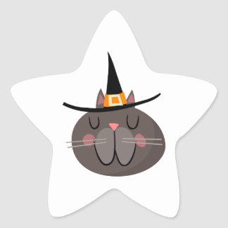 CAT WITH WITCH HAT STAR STICKERS