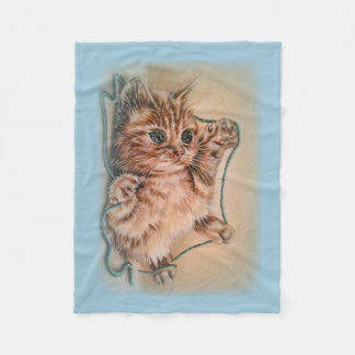 Cat with Yarn Drawing of Pet Portrait Fleece Blanket