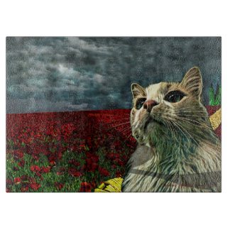 "Cat ""Wizard of Oz"" Baum Humor Glass Cutting Board"