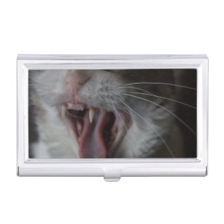 Cat Yawning Business Card Holder