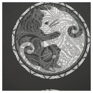 Cat Yin Yang Paisley Print Fabric