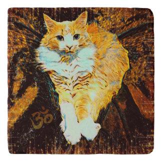 Cat Yoga Aum Sirasana Pose Marble Stone Trivet