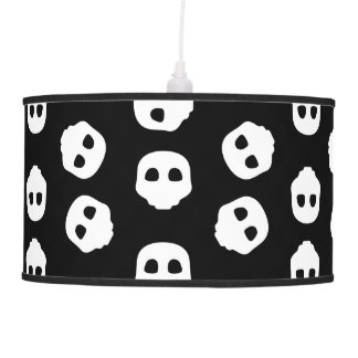 Catacomb White Skulls on Black Nu Goth Gothic Alt Pendant Lamp