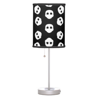 Catacomb White Skulls on Black Nu Goth Gothic Alt Table Lamp