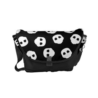 Catacomb White Skulls on Black Nu Goth Gothic Courier Bags