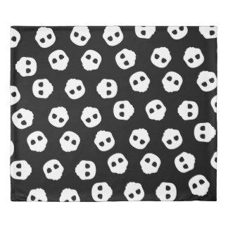 Catacomb White Skulls on Black Nu Goth Gothic Duvet Cover