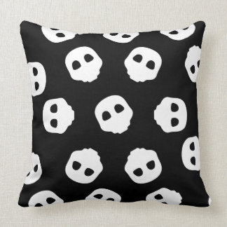 Catacomb White Skulls on Black Nu Goth Gothic Throw Pillow