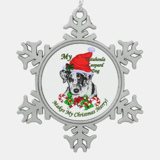 Catahoula Leopard Dog Christmas Snowflake Pewter Christmas Ornament
