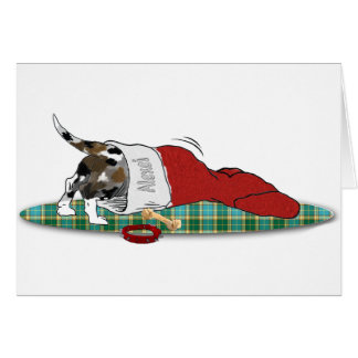 Catahoula puppy in stocking Christmas Card
