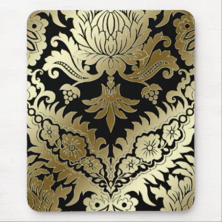 CATALINA DAMASK in GOLD on BLACK Mouse Pad