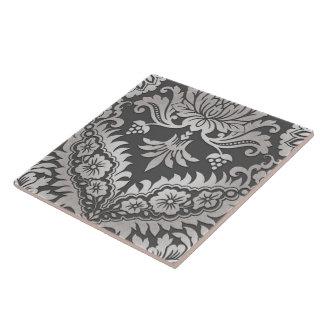 CATALINA DAMASK in PEWTER & PLATINUM Ceramic Tiles