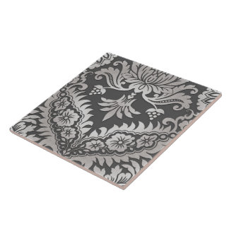 CATALINA DAMASK in PEWTER & PLATINUM Tile