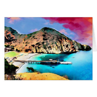 Catalina Island Camp Fox Card 001 Pink Blue Sky
