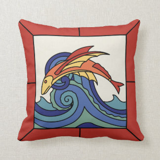 Catalina Island Flying Fish Tile Design Pillow