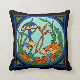 Catalina Island Tile Vintage 1920s Undersea Garden Throw Pillow