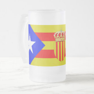 Catalonia flag frosted glass beer mug