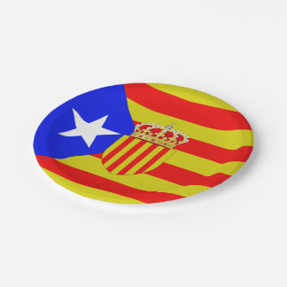 Catalonia flag paper plate