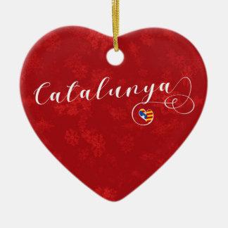 Catalunya Heart, Christmas Tree Ornament, Catalan Ceramic Ornament