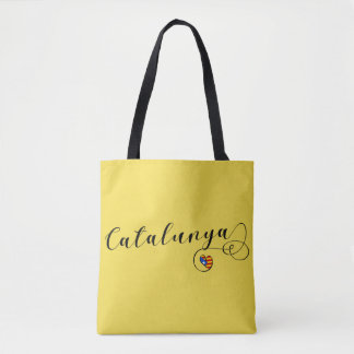 Catalunya Heart Grocery Bag, Catalonia Tote Bag