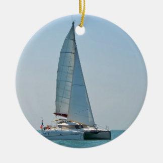Catamaran Clara Round Ceramic Ornament