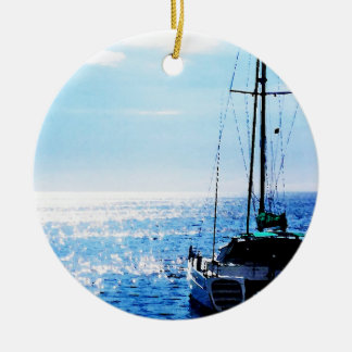 Catamaran in Beautiful Dominica Waters Round Ceramic Ornament