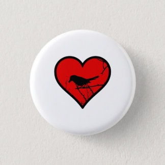 Catbird Heart Love Birds Silhouette 1 Inch Round Button