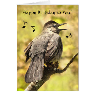 Catbird Sings Happy Birthday Card