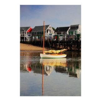 Catboat and waterfront, Provincetown MA, Cape Cod Poster