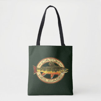 Catch and Release Brook Trout Fishing Tote Bag