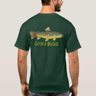 Catch & Release Brown Trout Fly Fishing Angling T-Shirt