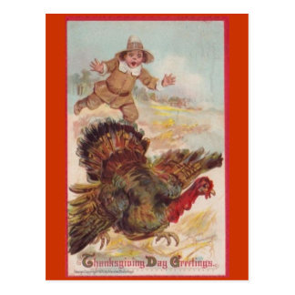 Catching a Turkey, Vintage Art Postcard