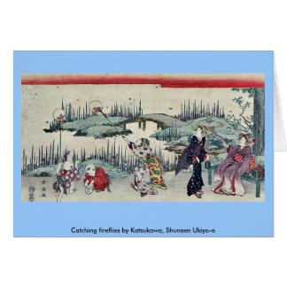Catching fireflies by Katsukawa, Shunsen Ukiyo-e Card