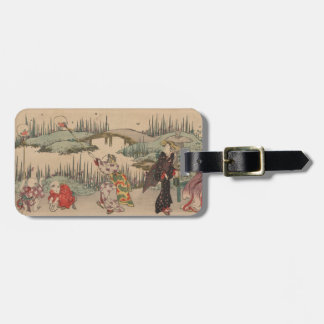 Catching Fireflies (colour woodcut) Luggage Tag