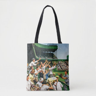 Catching Home Run Ball Tote Bag
