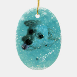 Catching Snowflakes Holiday Ornament, Oval Ceramic Ornament