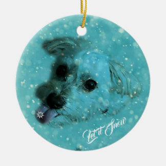 Catching Snowflakes Holiday Ornament, Round Ceramic Ornament