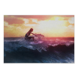 Catching the Last Wave of the Day in Tropical Suns Poster