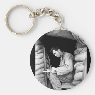 Catching up on his letters _War Image Basic Round Button Keychain