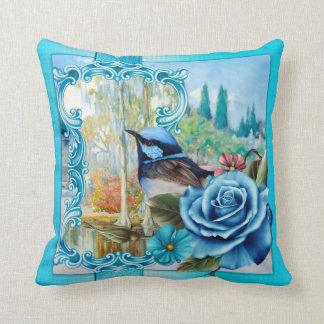 Catégorie bleue de jardin d'oiseau un carreau coussin